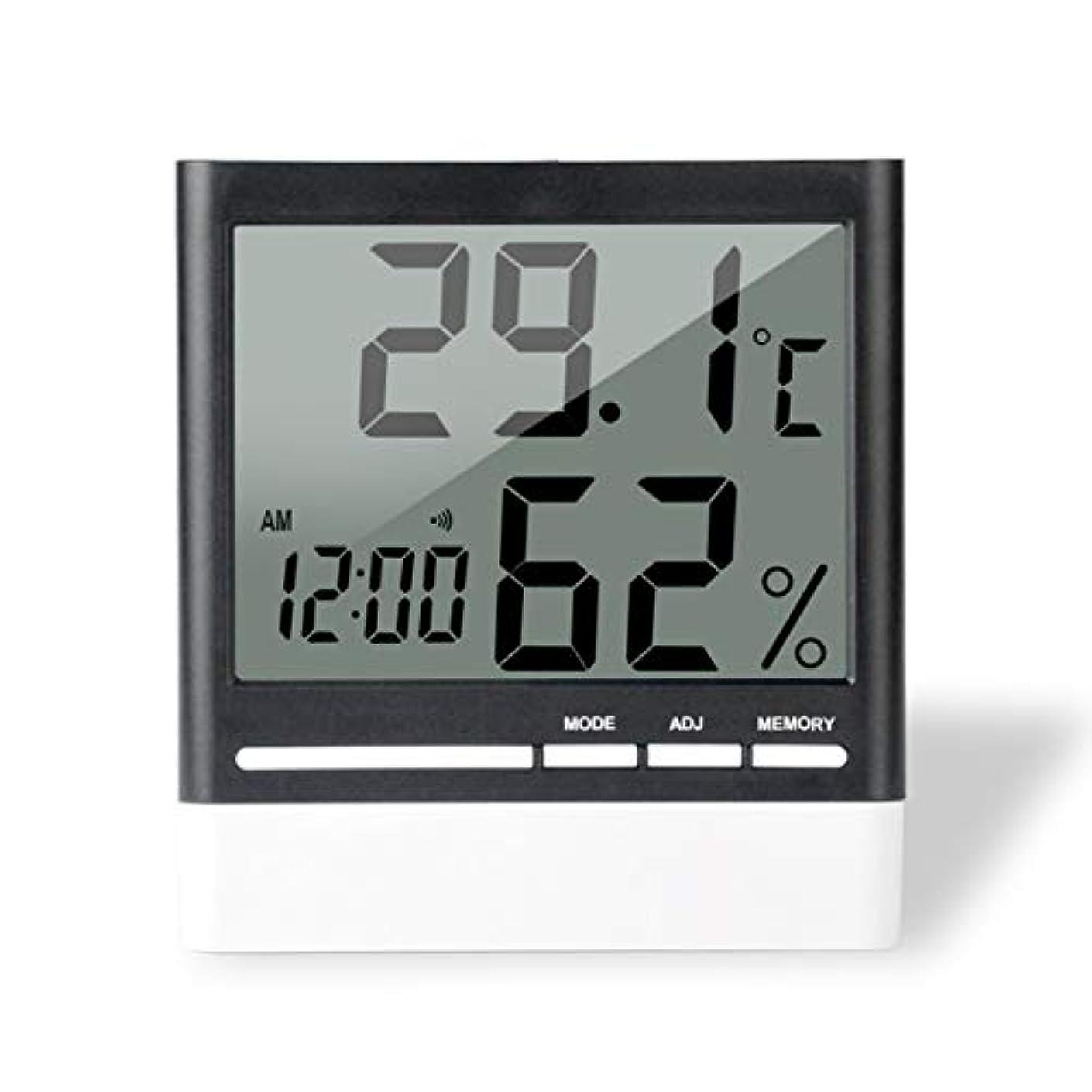 偶然銃貫入Saikogoods 電子体温計湿度計 デジタルディスプレイ 温度湿度モニター アラーム時計 屋内家庭用 ブラック