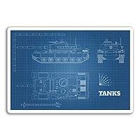 2×10センチメートルタンクビニールステッカー - 戦車陸軍ガンズメンズクールなステッカーノート#17988(10センチメートルワイド)