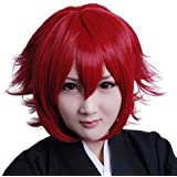 HOOLAZA Wine Red Short Straight Tail Anti Warping Cosplay Wig Hitman Reborn Gatling Cosplay Wig