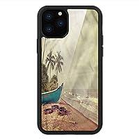 iPhone 11 Pro Max 用 強化ガラスケース クリア 薄型 耐衝撃 黒 カバーケース ビンテージハワイ 海岸の古いボート iPhone 11 Pro 2019用 iPhone11 Proケース用