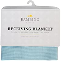 Bambino Basics 100% COTTON - Waffle Knit Thermal Receiving Blankets - 30 x 30 - In 5 Colors: Baby Blue Pink White Grey and Navy Blue - Perfect Gift for Baby Shower or any Expecting Mother [並行輸入品]