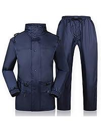 ZEMIN レインコート ポンチョ レインウェア スリッカー ウインドブレーカー 防水 カバー カップル セット ズボン 通気性のある ポリエステル、 濃紺、 5サイズあり (色 : 濃紺, サイズ さいず : XXXL)