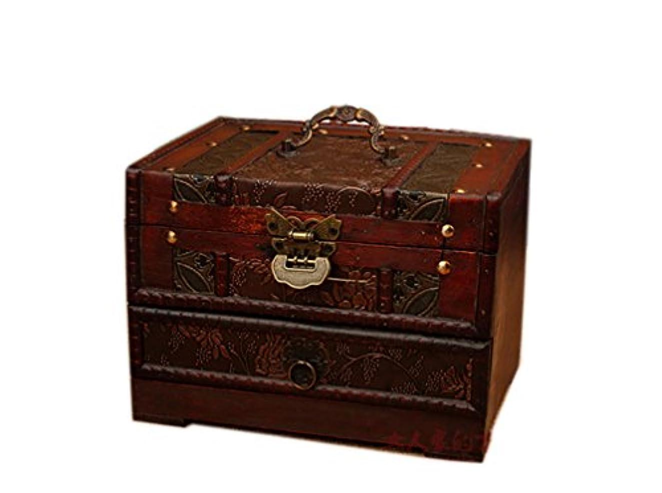第ヘクタール母性ROAJI コスメボックス メイク アンティーク 木製 大容量 携帯 持ち運び 収納 鍵付き ミラー (ブラウン)