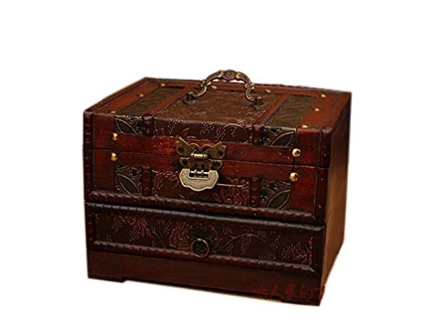 ワイプ受け皿永遠にROAJI コスメボックス メイク アンティーク 木製 大容量 携帯 持ち運び 収納 鍵付き ミラー (ブラウン)