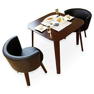 LOWYA カフェ風 ダイニング3点セット 2人掛け テーブル80×80cm 正方形 ブラウン×ブラック おしゃれ 新生活