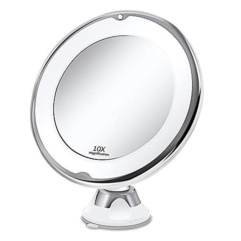 悪性リズム和Steppiano 10倍拡大鏡 化粧ミラー led コンパクト 卓上鏡 浴室鏡 壁掛けメイクミラー 吸盤ロック付きLEDミラー 360度回転