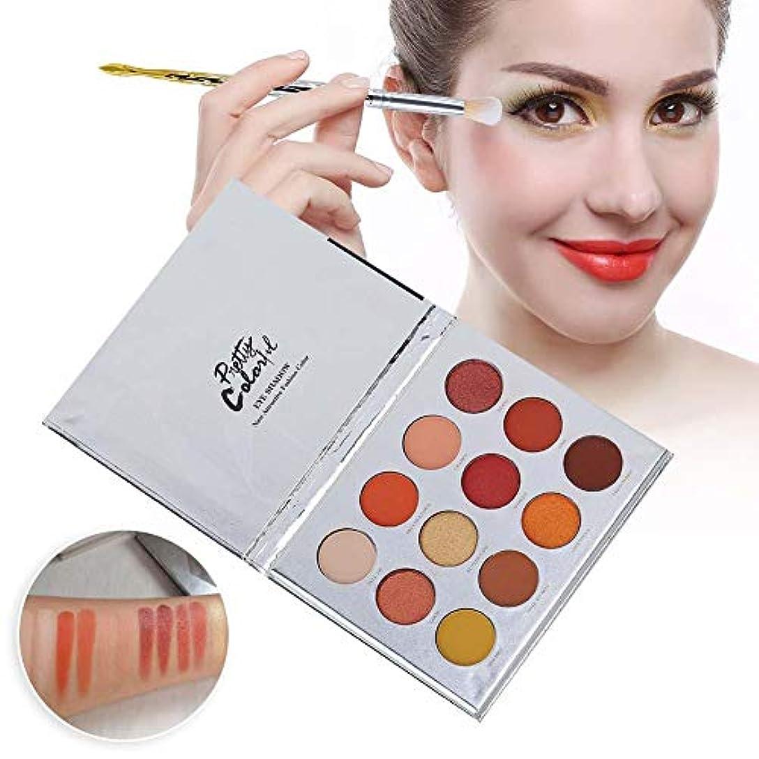 赤エアコン死にかけているアイシャドウパレット 12色 化粧マット 化粧品ツール グロス アイシャドウパウダー