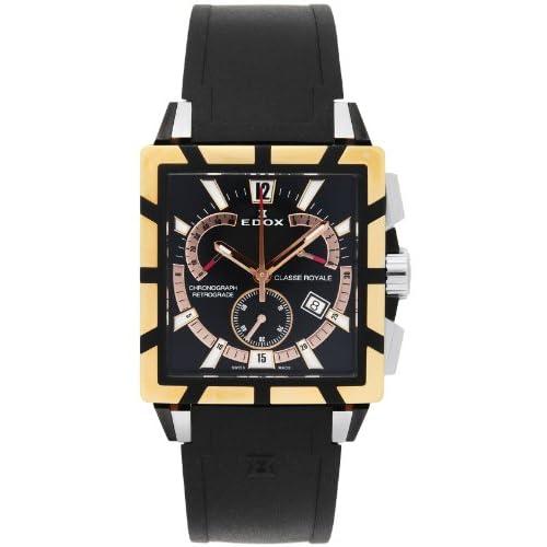 [エドックス]EDOX 腕時計 クラスロイヤル ブラック文字盤 ステンレス(YGPVD)ケース ラバーベルト 01504-357RN-NIR メンズ 【並行輸入品】