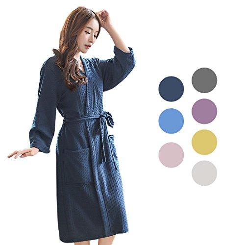 uxcell バスローブ レディース 浴衣式 トルココットン 軽量 ワッフル着物 ショートローブ 女性用 春 夏 ネイビー XL