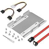 ELUTENG HDD/SSD ブラケット 両面使用可能 新型 アルミ合金制 2.5 3.5 両方対応 マウンタ SATAケーブル 内臓電源ケーブル セット 2.5インチ to 3.5インチ サイズ変換