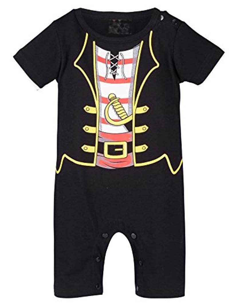 冷えるタオル癌BECOS ベビー 男の子 ロンパース カバーオール ハロウィン 仮装 コスチューム 海賊 衣装 半袖 (black, 0-6ヶ月)