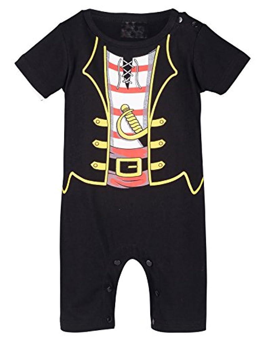 メダリスト賭け診断するBECOS ベビー 男の子 ロンパース カバーオール ハロウィン 仮装 コスチューム 海賊 衣装 半袖 (black, 0-6ヶ月)