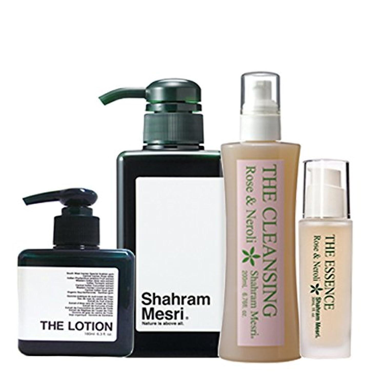 サークル強打士気Shahram Mesri パーフェクトセット シャハランメスリ ザ?シャンプー ザ?ローション ザ?クレンジング ザ?エッセンス のセットです。 お化粧落としからシャンプーそしてローションエッセンスの仕上げまで お試しください。