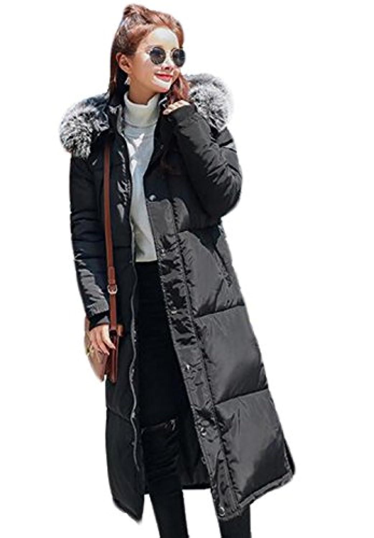 GuDeKe ダウンコート ロング レディース ダウンジャケット ファー 厚手 中綿コート アウター 軽量 棉服 防寒ジャケット 暖かい 着痩せ 細身 通勤 おしゃれ シンプル ファッション