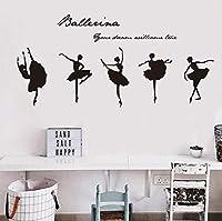 Hwhz 40 X 55 Cmホームインテリア美しいバレエダンサービニールウォールステッカーリムーバブルガールズルームウォールアート壁の女の子のルームウォールステッカーの装飾