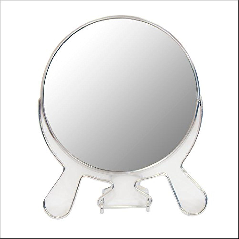 アベニュー発生器ヶ月目安住商事 円形折りたたみスタンドミラー 両面鏡 卓上鏡 メイク 化粧道具 コンパクト 360度回転 3倍拡大鏡