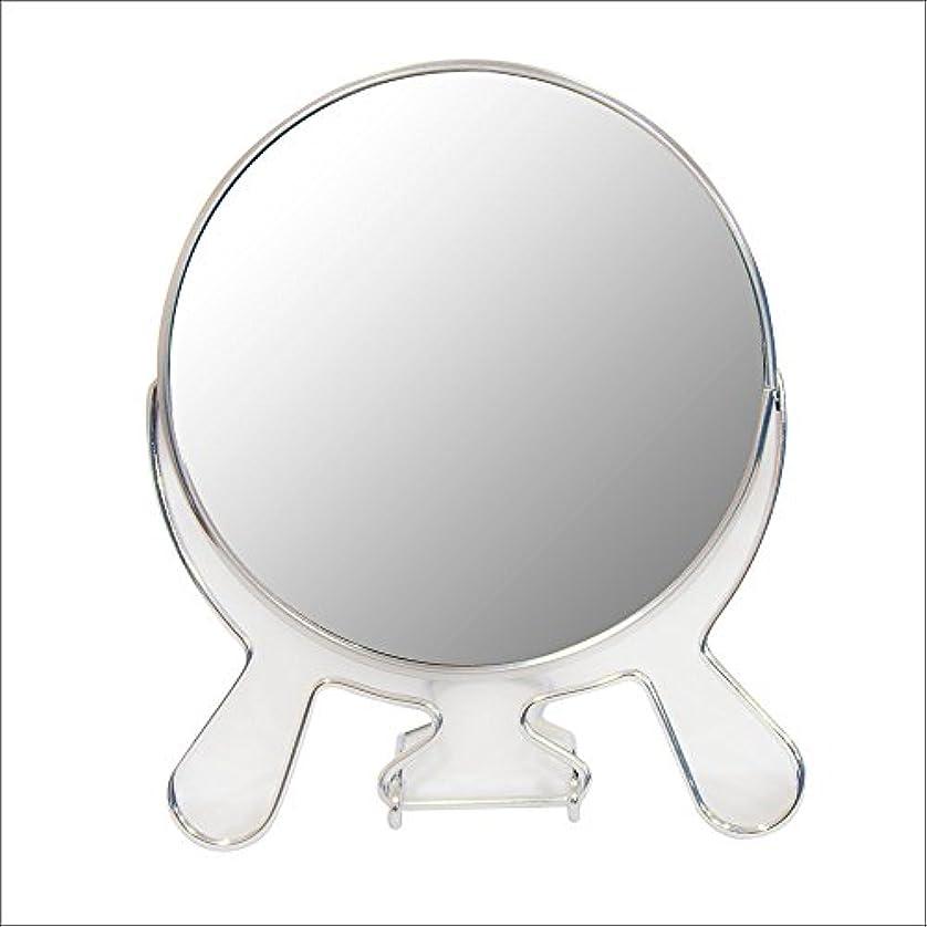 怠感ケント思慮深い安住商事 円形折りたたみスタンドミラー 両面鏡 卓上鏡 メイク 化粧道具 コンパクト 360度回転 3倍拡大鏡