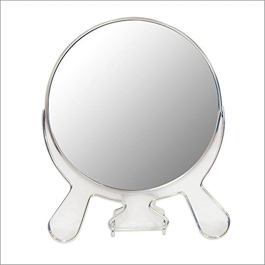 増幅欠陥歯痛安住商事 円形折りたたみスタンドミラー 両面鏡 卓上鏡 メイク 化粧道具 コンパクト 360度回転 3倍拡大鏡