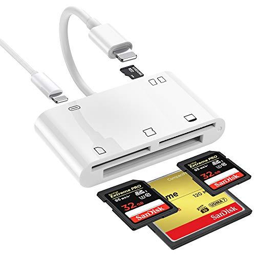 iPhone SD カード カメラ リーダー ライトニング マイクロ SD カード リーダー XD/SD/TF/CF /M2 カード リーダー 充電 写真 ビデオ 伝送 IOS 10.0 以降対応 (ホワイト)