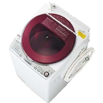 シャープ 8.0kg 洗濯乾燥機 レッド系SHARP 穴なし槽 プラズマクラスター洗濯機 ES-TX840-R