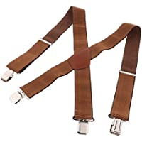 Blesiya Heavy Duty Clip Suspenders, Mens Adjustable X Back Straps with Non Slip Clips for Work Pants Jeans Trousers