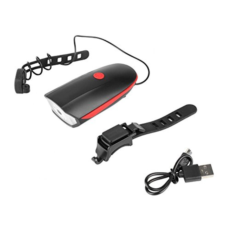 自転車 ヘッドライト フロントライト 自転車前照灯 バイクホーン付き 高輝度 防水 USB充電式 LED警告灯 取り付け簡単