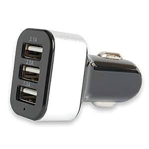ピカピカレイン カーチャージャー シルバー 急速充電 5.1A USB3ポート 12v 24v TOP-CHARGER-SV