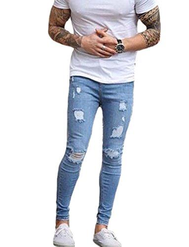 メンズ パンツ ジッパー 破壊された 引き裂かれたパンツ スキニージーンズ ブルースリムジーンズ (S, 青)