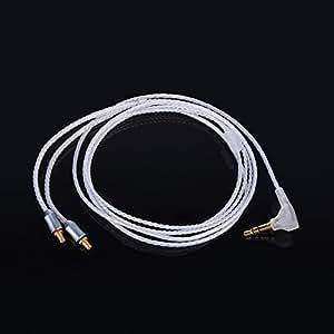 KINDENイヤホンケーブル ls50,ls70,ls200,ls300,ls400,e40,e50,e70に対応 着脱式 交換用ケーブル 1.2m 銀