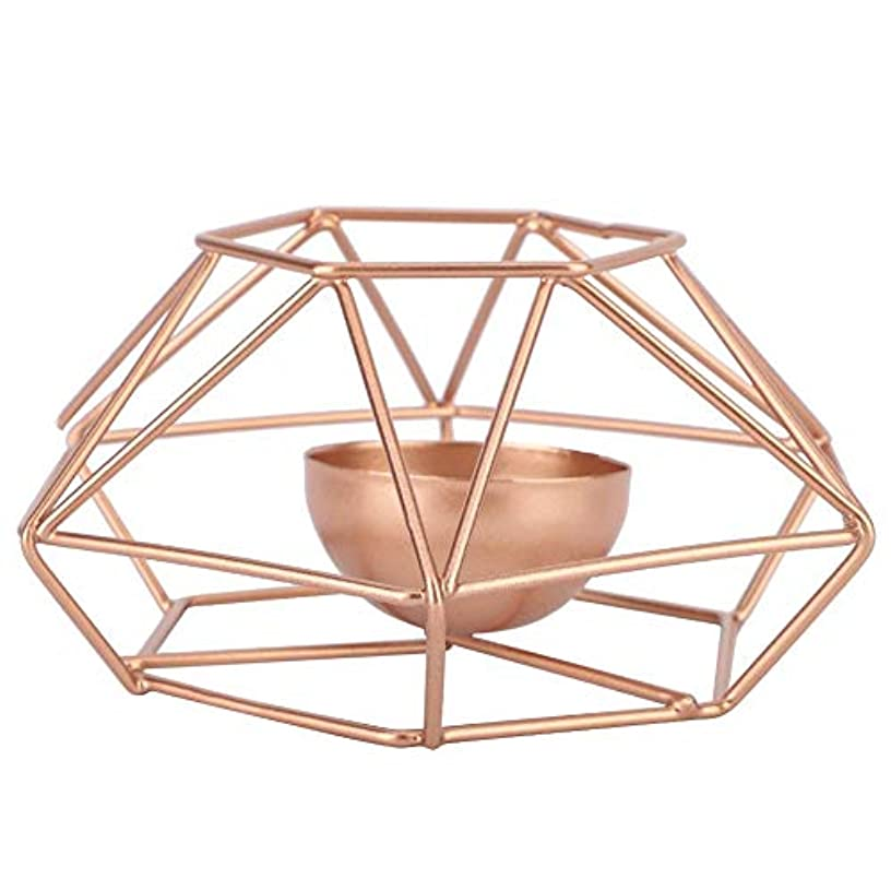 フローティング周波数パイプ鉄の燭台、現代スタイルの幾何学的な燭台スタンド鉄の蝋燭ホールダー金家の装飾飾り