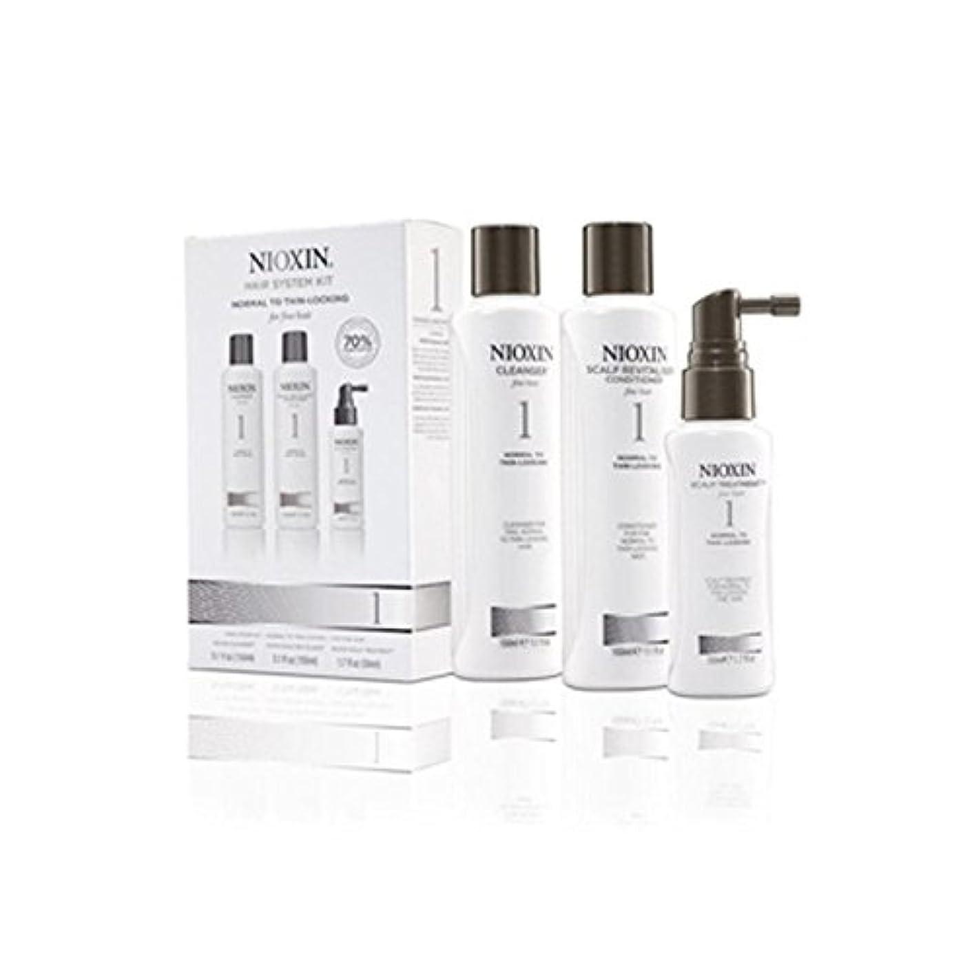 しつけメタン司令官細かい自然な髪への通常のためニオキシンヘアシステムキット1(3製品) x4 - Nioxin Hair System Kit 1 For Normal To Fine Natural Hair (3 Products)...
