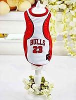 ペットZL85のための犬のノースリーブ犬のベストTシャツ小/中/大型犬のバスケットボールの服財の夏のペットの服:M、赤、白