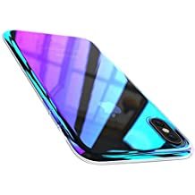 Wireless Charger iPhone X Case, FLOVEME Luxury Slim Fit Gradual Colorful Gradient Change Color Ultra Thin Lightweight Electroplating Bumper Anti-Drop Clear Hard Back Cover Holder, Transparent Purple