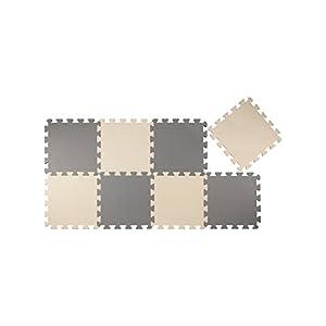 CBジャパン ジョイントマット 厚め 12mm 8枚組 カラーマット グレー×ベージュ (クッキークリーム)