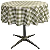 LA Linen Poly Checkered Round Tablecloth, 58-Inch, Apple Green/White