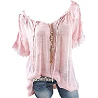 FlusRap Women T-Shirts Off Shoulder Short Sleeves Loose Breathable Casual Tops for Summer