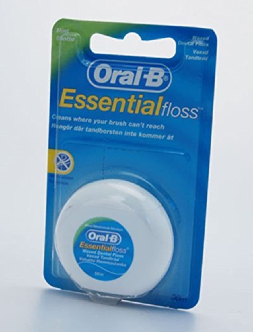 動機付ける無駄に滞在3X 50M ORAL-B ESSENTIAL DENTAL FLOSS WAXED - MINT WAXED by Oral-B
