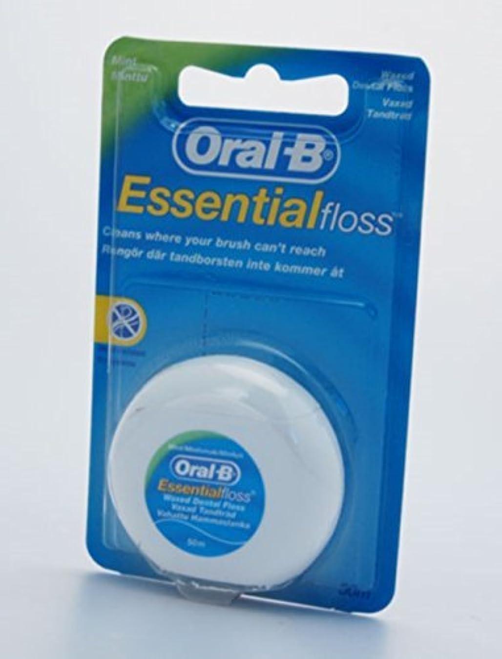 構成員ジャム知覚できる3X 50M ORAL-B ESSENTIAL DENTAL FLOSS WAXED - MINT WAXED by Oral-B