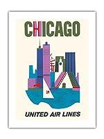 シカゴ, イリノイ州 - ユナイテッド航空 - ビンテージな航空会社のポスター c.1962 -プレミアム290gsmジークレーアートプリント - 46cm x 61cm