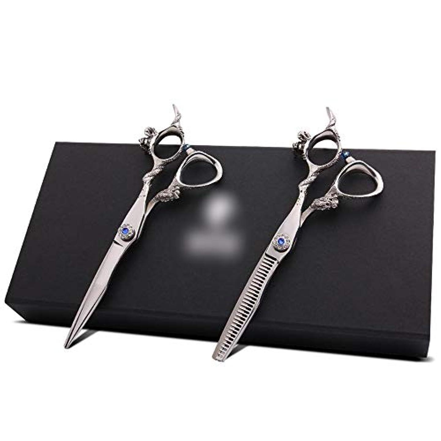 小康塩ロック6インチ理髪はさみセット、歯シザー散髪セット モデリングツール (色 : Silver)