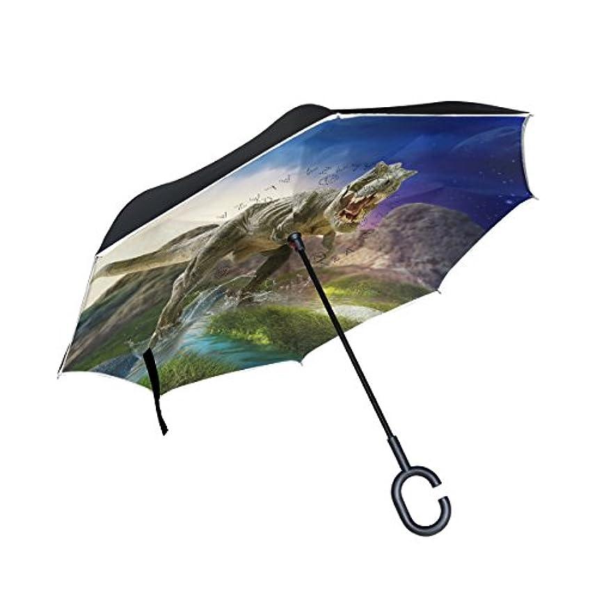 蒸留作成するファウルAOMOKI 逆さ傘 逆傘 長傘 日傘 逆折り式傘 晴雨兼用 梅雨対策 UVカット 耐強風 C型 二重構造 車用 男女兼用 恐竜 ジャングル