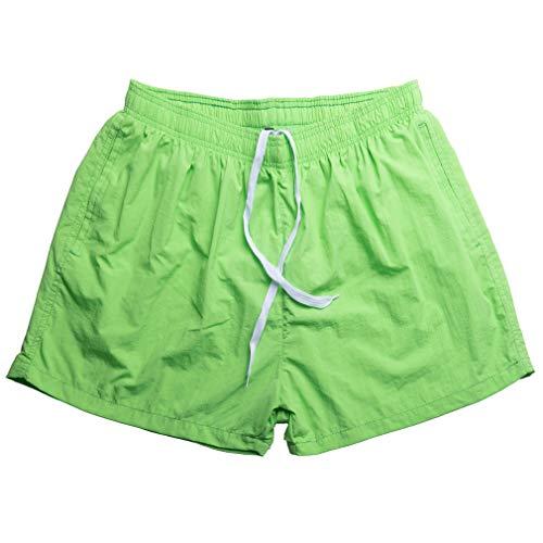 メンズ 多色 夏 ショートパンツ ストレッチ ナイロン100% 短パン ドライ 運動パンツ スポーツパンツ S グラスグリーン