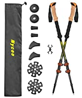 Nycoo 100% Carbon Fiber Hiking Sticks, Adjustable Trekking Poles for Backpacking, Ultralight Antishock Hiking Poles with Cork Grip Quick Locks 4 Baskets Attached Yellow 2 Pack [並行輸入品]