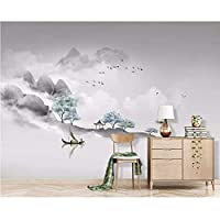 Wuyyii カスタム壁紙中国のインク風景テレビの背景壁画のリビングルームの寝室のベッドサイドの背景の壁画の3D壁紙-280X200Cm