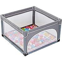 ボールマット付きのポータブルベビープレイペン、子供の子供のプレイペンルーム折り畳み式ディバイダーオックスフォードクロス4サイドパネル (色 : Gray)