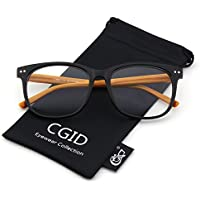 CGID CN81 Large Oversized Bold Frame UV 400 Clear Lens Horn Rimmed Glasses