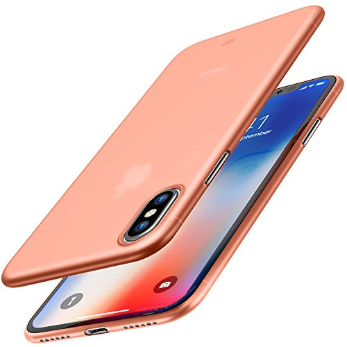 TOZO® iPhone X ケース iPhone 10 / X用 PP[0.35mm] 最軽量 最薄型 半透明 ハードケース マット質感[ローズゴールド]