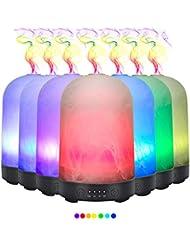 エッセンシャルオイル用ディフューザー (100ml)-3d アートガラスミストランプアロマ加湿器7色の変更 LED ライト & 4 タイマー設定、水なしオートシャットオフ