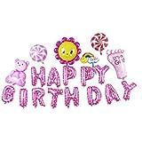 Lumierechat 特大 誕生日 装飾 セット HAPPYBIRTHDAY ビッグ アルミ バルーン 約3m 空気入れ付 a-b684(Happy Birthday/ピンク)