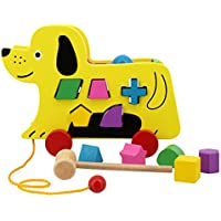 Multifit Kids Wooden Pull Along子犬おもちゃクリエイティブ教育玩具犬木製アクティビティPlay for Toddlers初心者Walkers子犬Wooden Pull Toy